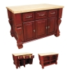 ISL01-RED This 52-5/8' x 32-3/8' x 35-1/4' furniture style island is manufactured using the highest quality furniture grade hardwoods and MDF. The islands features three working drawers and cabinets on one side and fully adjustable display shelves on the reverse. Cabinets have one fully adjustable shelf. The drawers are dovetailed solid hardwood and are mounted on full extension ball bearing slides. The included decorative hardware can be found in the Jeffrey Alexander Glenmore Collection (618, 718). Coordinating posts are available in our carved wood collection (P13). Brilliant Red finish is applied by hand. 1-3/4' hard maple edge grain butcher block top sold separately, (ISL01-TOP - 54' x 34') Overall Dimensions: 52-5/8' x 32-3/8' x 35-1/4' *Dimensions taken from the widest point   Finish: Brilliant Red (finish applied by hand)  All Materials used meet California CARB2 Requirements