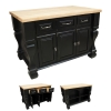 ISL01-DBK This 52-5/8' x 32-3/8' x 35-1/4' furniture style island is manufactured using the highest quality furniture grade hardwoods and MDF. The islands features three working drawers and cabinets on one side and fully adjustable display shelves on the reverse. Cabinets have one fully adjustable shelf. The drawers are dovetailed solid hardwood and are mounted on full extension ball bearing slides. The included decorative hardware can be found in the Jeffrey Alexander Glenmore Collection (618, 718). Coordinating posts are available in our carved wood collection (P13). Distressed Black finish is applied by hand. 1-3/4' hard maple edge grain butcher block top sold separately, (ISL01-TOP - 54' x 34') Overall Dimensions: 52-5/8' x 32-3/8' x 35-1/4' *Dimensions taken from the widest point   Finish: Distressed Black (finish applied by hand)  All Materials used meet California CARB2 Requirements